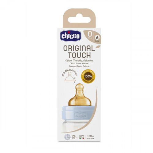 CHICCO Lateksa pudele Original Touch, 150ml, zēnam New Brand (27610.20)