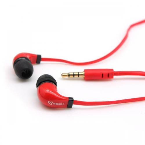 Sbox Stereo Earphones with Microphone EP-038 red (T-MLX36213)